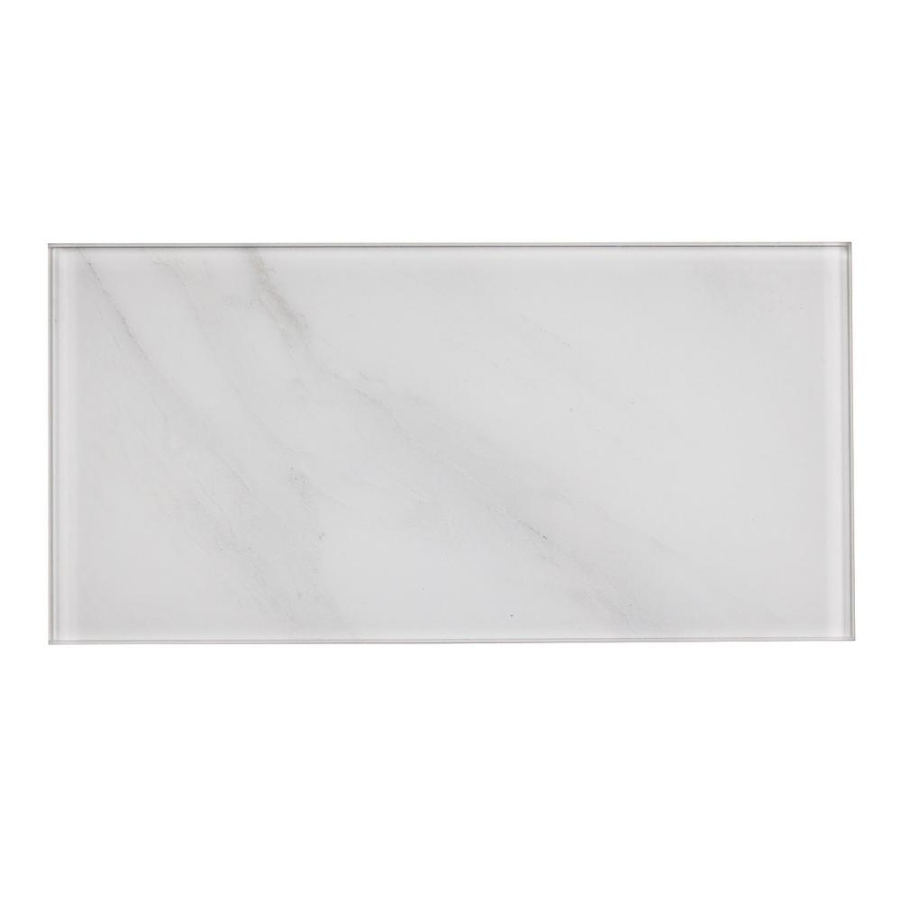 Nature 4 in. x 8 in. White Calacatta Glass Peel and