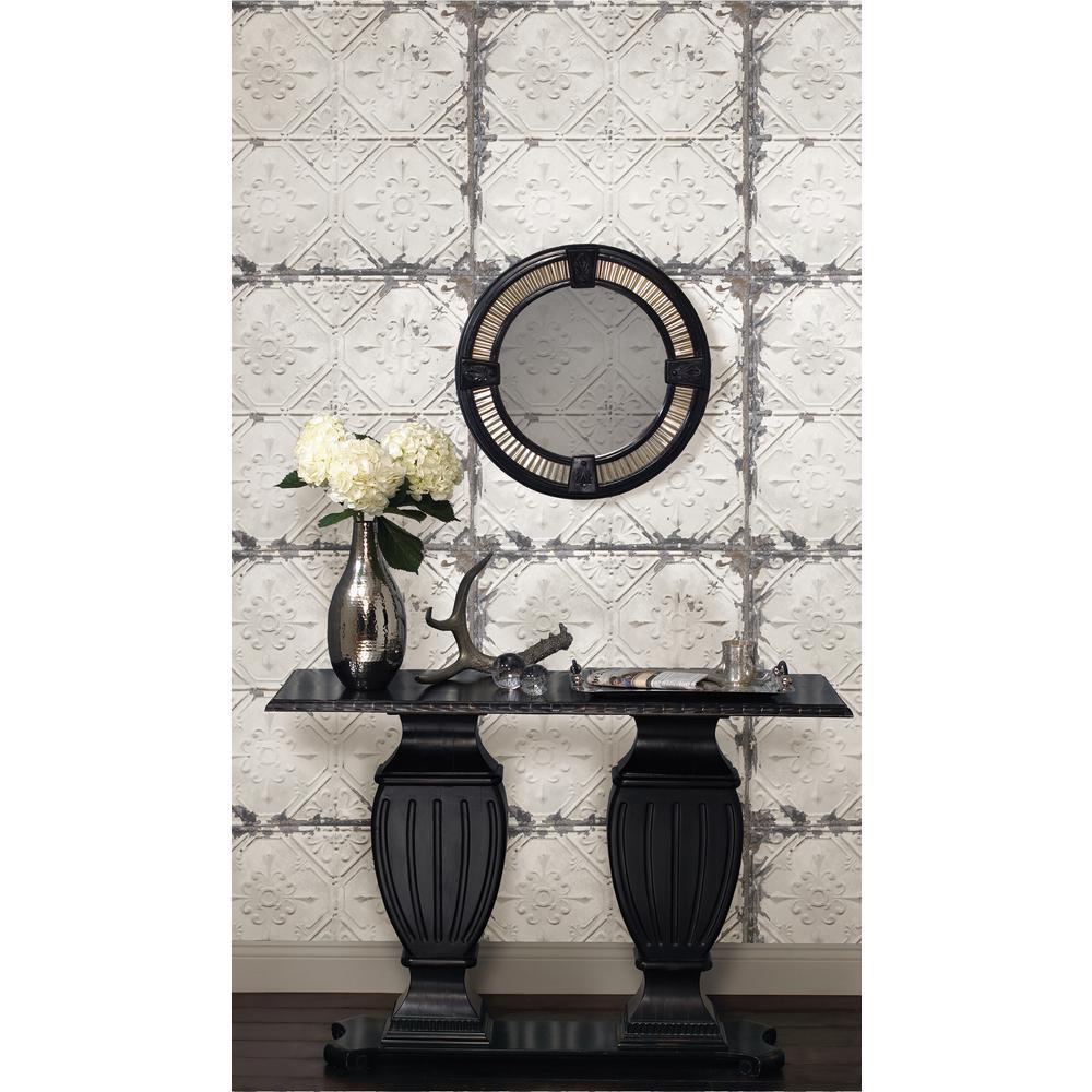Nuwallpaper Vintage Tin Tile Peel And Stick White Off White Wallpaper Sample Nu2086sam The Home Depot