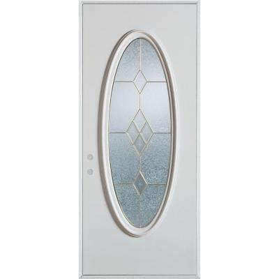 36 in. x 80 in. Geometric Brass Full Oval Lite Painted White Right-Hand Inswing Steel Prehung Front Door
