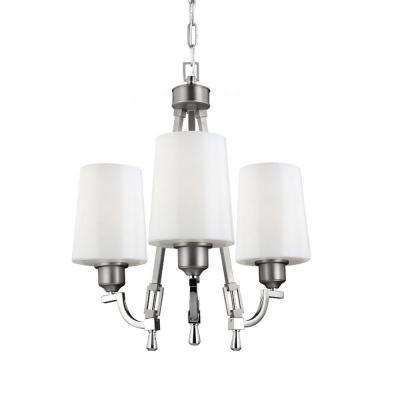 Preakness 3-Light Satin Nickel/Polished Nickel Billiard Island Chandelier