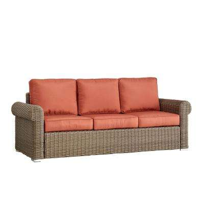 Camari Mocha Rolled Arm Wicker Outdoor Sofa with Red Cushion