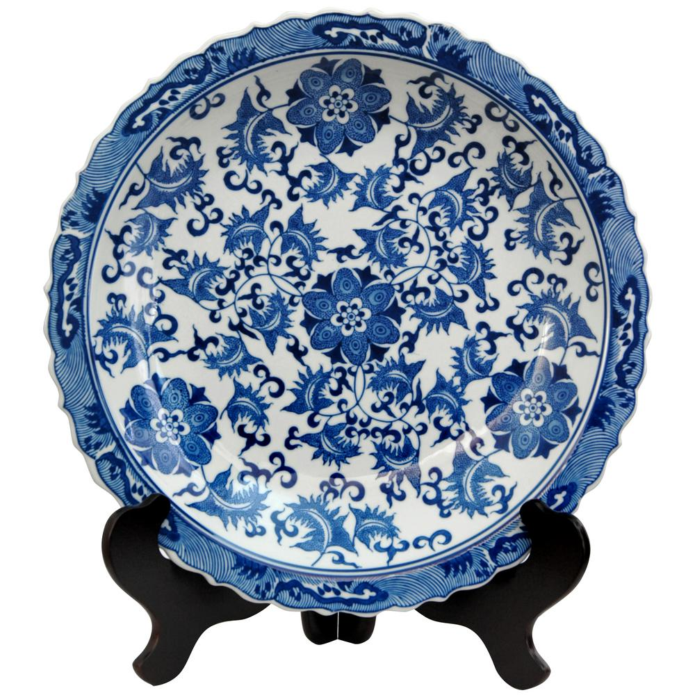 Oriental Furniture 14 in. Porcelain Decorative Plate in Blue  sc 1 st  The Home Depot : asian decorative plates - pezcame.com