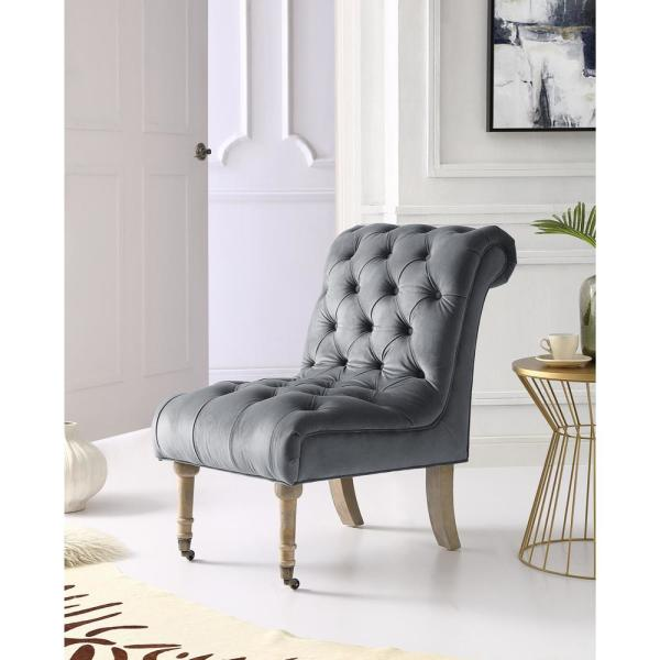 Inspired Home Dolly Grey Velvet Armless Slipper Chair with Button Tufting