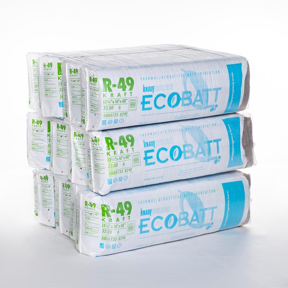 R-49 EcoBatt Kraft Faced Insulation Batt 16 in. x 48 in. (12-Bags)