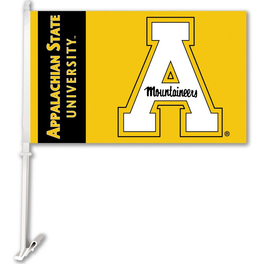Ncaa 11 in. x 18 in. Appalachian State 2-Sided Car Flag with 1-1/2 ft. Plastic Flagpole (Set of 2)