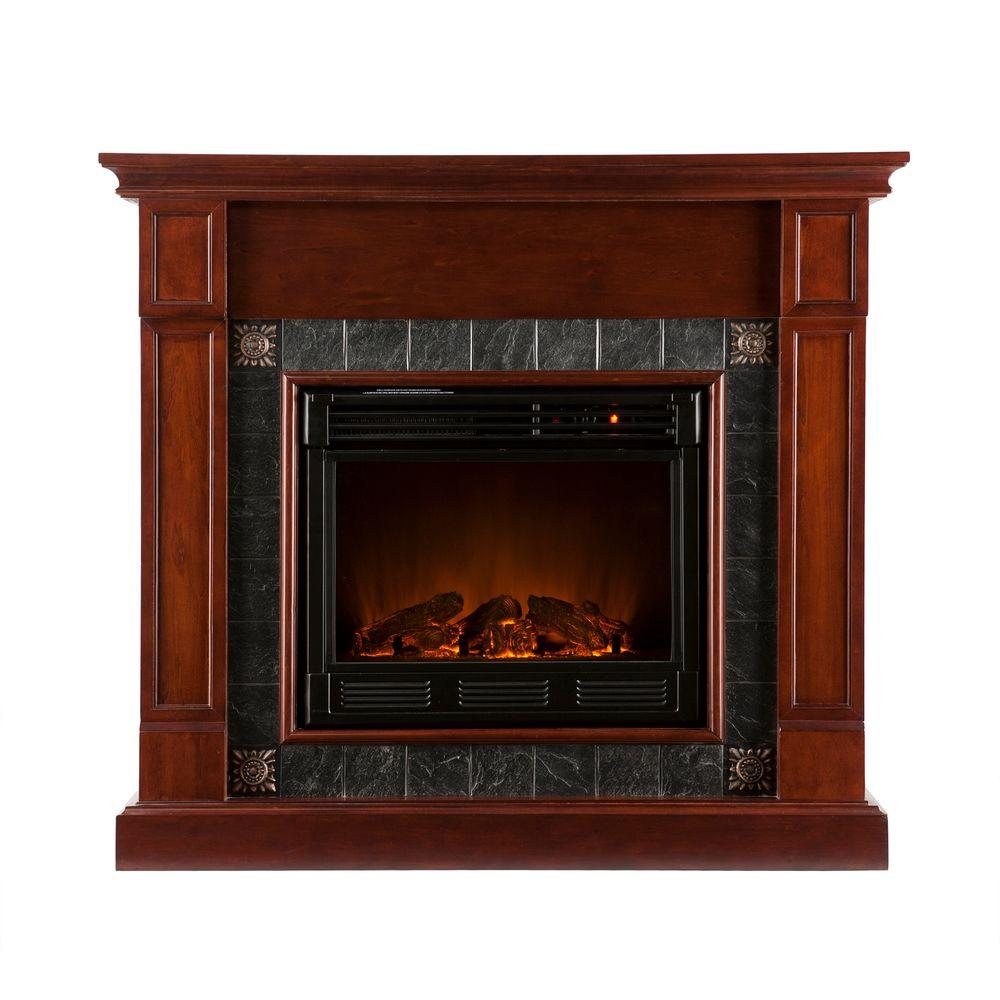 Southern Enterprises Lungarno 45 in. Electric Fireplace in Cherry with Faux Slate-DISCONTINUED