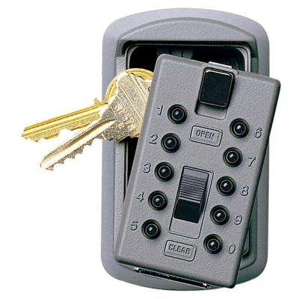 Slimline 2-Key Box with Pushbutton Lock, Titanium