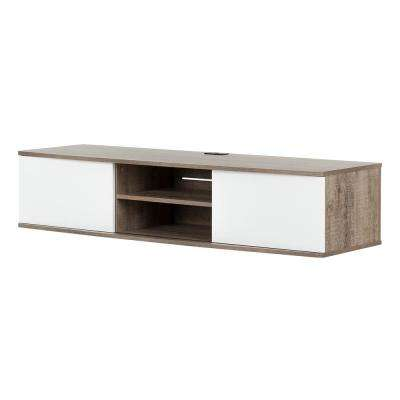 Agora Weathered Oak and Pure White 56 in. Wide Wall Mounted Media Console