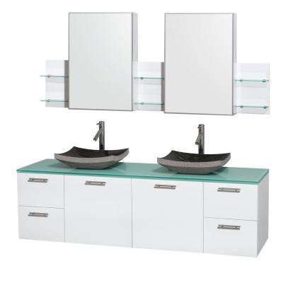 Amare 72 in. Double Vanity in Glossy White with Glass Vanity Top in Green, Granite Sinks and Medicine Cabinet
