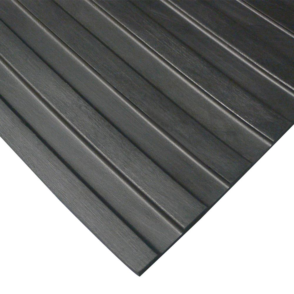 Rubber-Cal Corrugated Wide Rib 3 ft. x 6 ft. Black Rubber Flooring (18 sq. ft.)