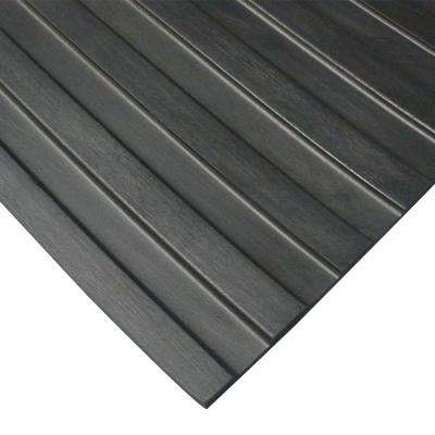 Corrugated Wide Rib 3 ft. x 4 ft. Black Rubber Flooring (12 sq. ft.)