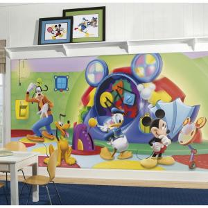 Mickey and Friends Clubhouse Capers Chair Rail Pre & RoomMates Mickey and Friends Peel and Stick Wall Decals-RMK1507SCS ...