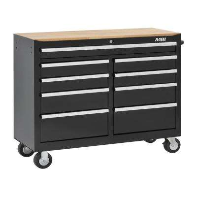 52 in. 9-Drawer Mobile Work Center Black