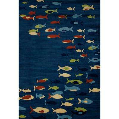 Seaport Fish School Navy blue 8 ft. x 11 ft. Area Rug