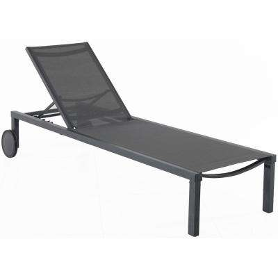 Windham Gray Frame Adjustable Sling Outdoor Chaise Lounge in Gray Sling