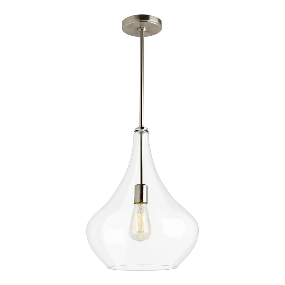 Sea Gull Lighting Mora 13 In W X 17 H 1 Light Clear Gl Teardrop Pendant With Brushed Nickel Accents And Vintage Edison Bulb