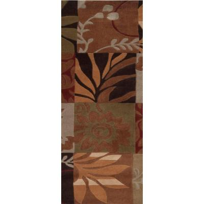 Equinox Rust and Green Polyester 3 ft. x 8 ft. Runner Rug