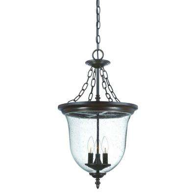 Belle Collection 3-Light Architectural Bronze Outdoor Hanging Lantern Light Fixture