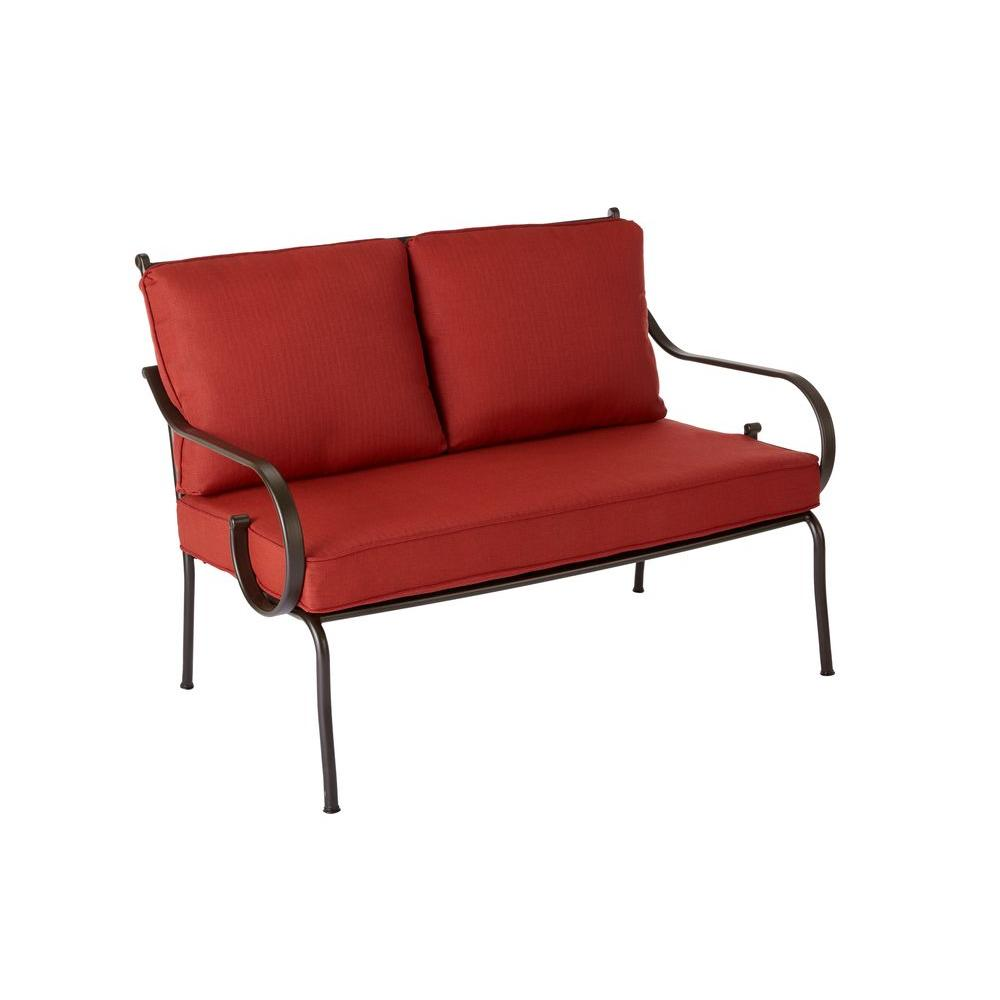 Hampton Bay Middletown Patio Loveseat With Chili Cushions