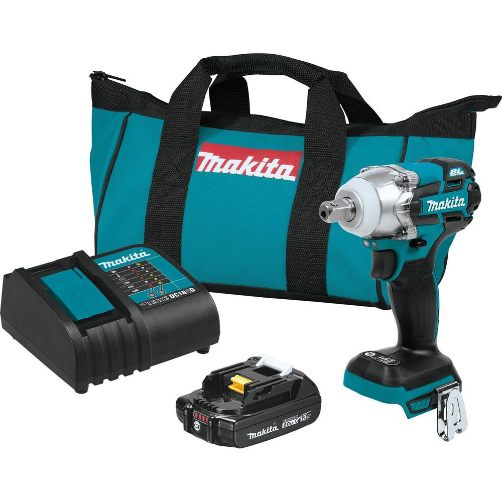 Makita 18-Volt LXT Lithium-Ion Compact Brushless Cordless 1/2 in. 3-Speed Impact Wrench Kit 2.0 Ah