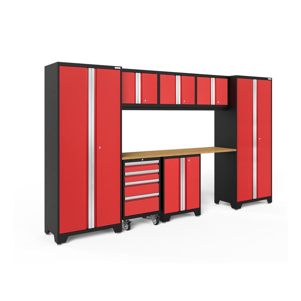 Bold 3.0 132 in. W x 75.25 in. H x 18 in. D 24-Gauge Welded Steel Bamboo Worktop Cabinet Set in Red (8-Piece)