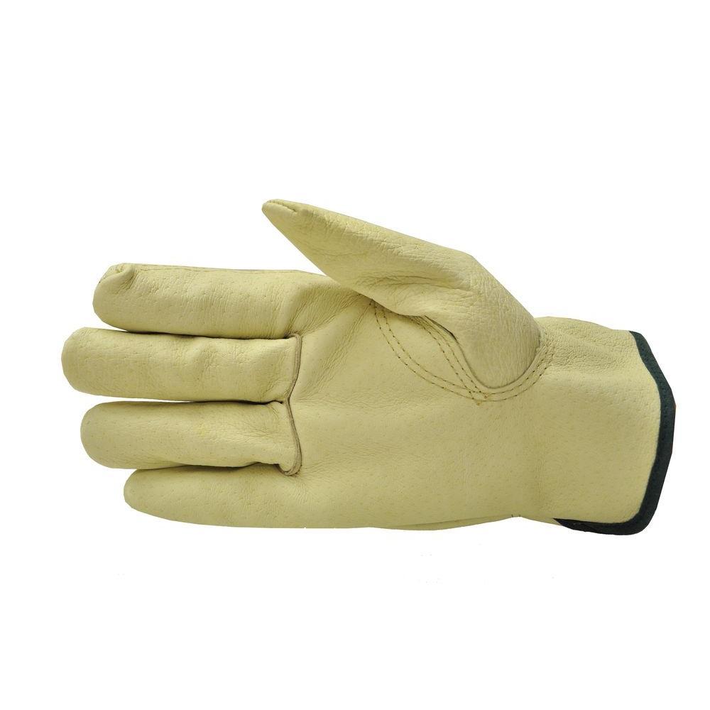 Grain Pigskin Leather Medium Work Gloves (3-Pair)
