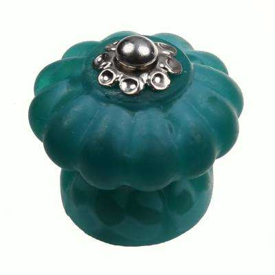 1-1/2 in. Aqua Round Glass Melon Cabinet Drawer Knobs (10-Pack)