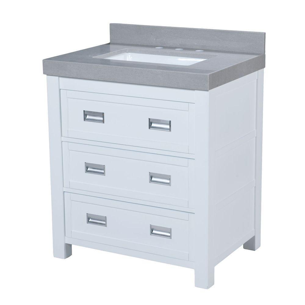 Hayden 30.5 in. W x 22 in. D Vanity in White with Granite Vanity Top in Gray with White Basin