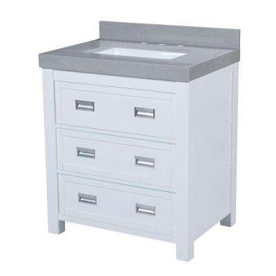 Hayden 30.5 in. W x 22 in. D Vanity in White with Granite Vanity Top in Gray with White Basin