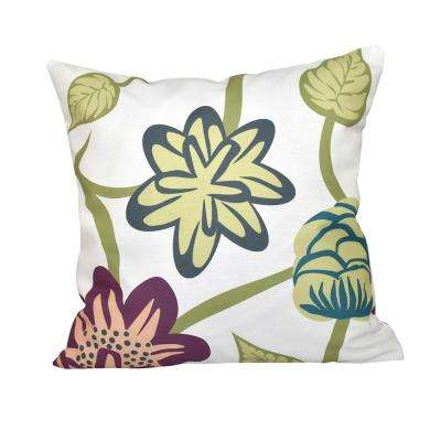 16 in. x 16 in. Purple Tropical Floral Print Pillow