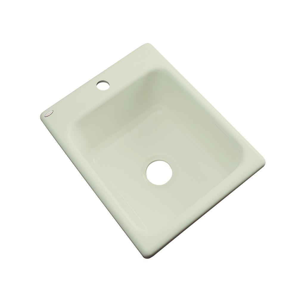 Thermocast Crisfield Drop-In Acrylic 17 in. 1-Hole Single Basin Entertainment Sink in Jersey Cream