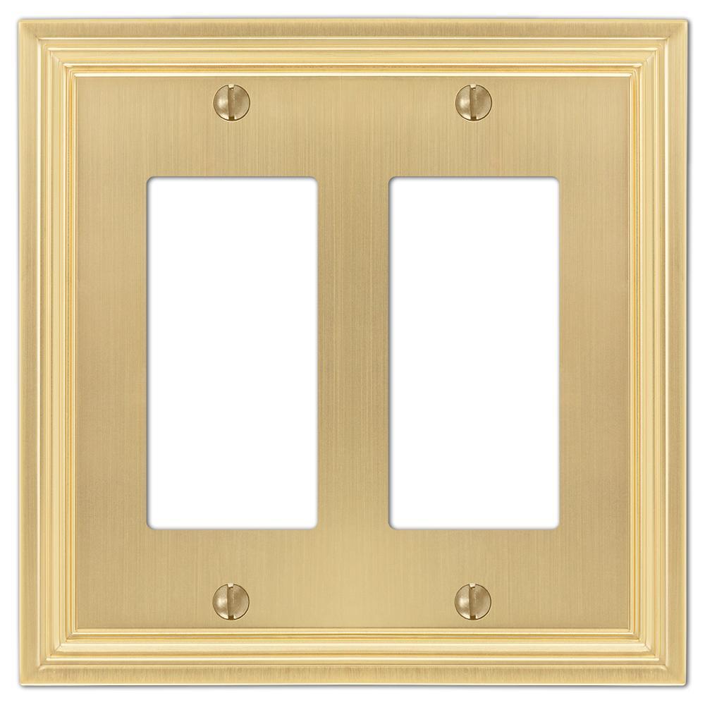 Hallcrest Cast 2-Decora Wall Plate, Satin Brass