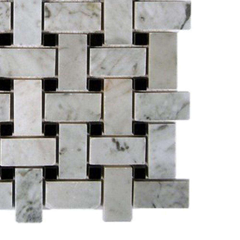 Splashback tile magnolia weave white carrera with black dot marble splashback tile magnolia weave white carrera with black dot marble mosaic floor and wall tile 3 in x 6 in x 8 mm tile sample l3b3 the home depot dailygadgetfo Gallery