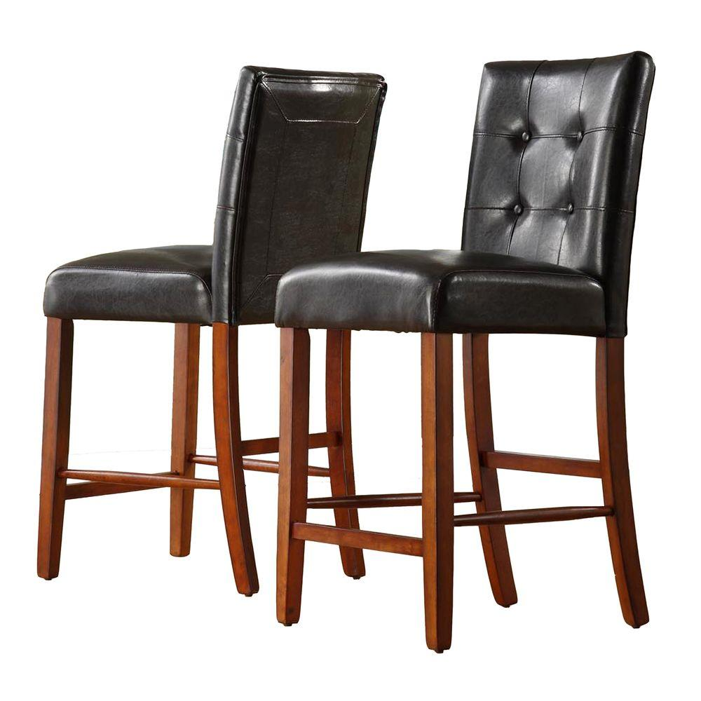 Home Decorators Collection 24 in. H Dark Brown Faux Leather Counter-Height Chair (Set of 2)-DISCONTINUED