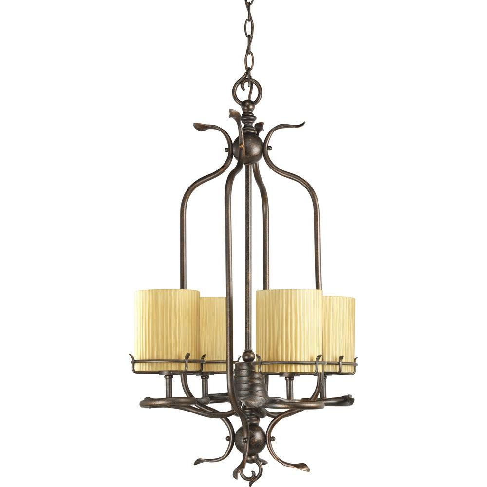 Progress Lighting Willow Creek Collection 4-Light Weathered Auburn Foyer Pendant