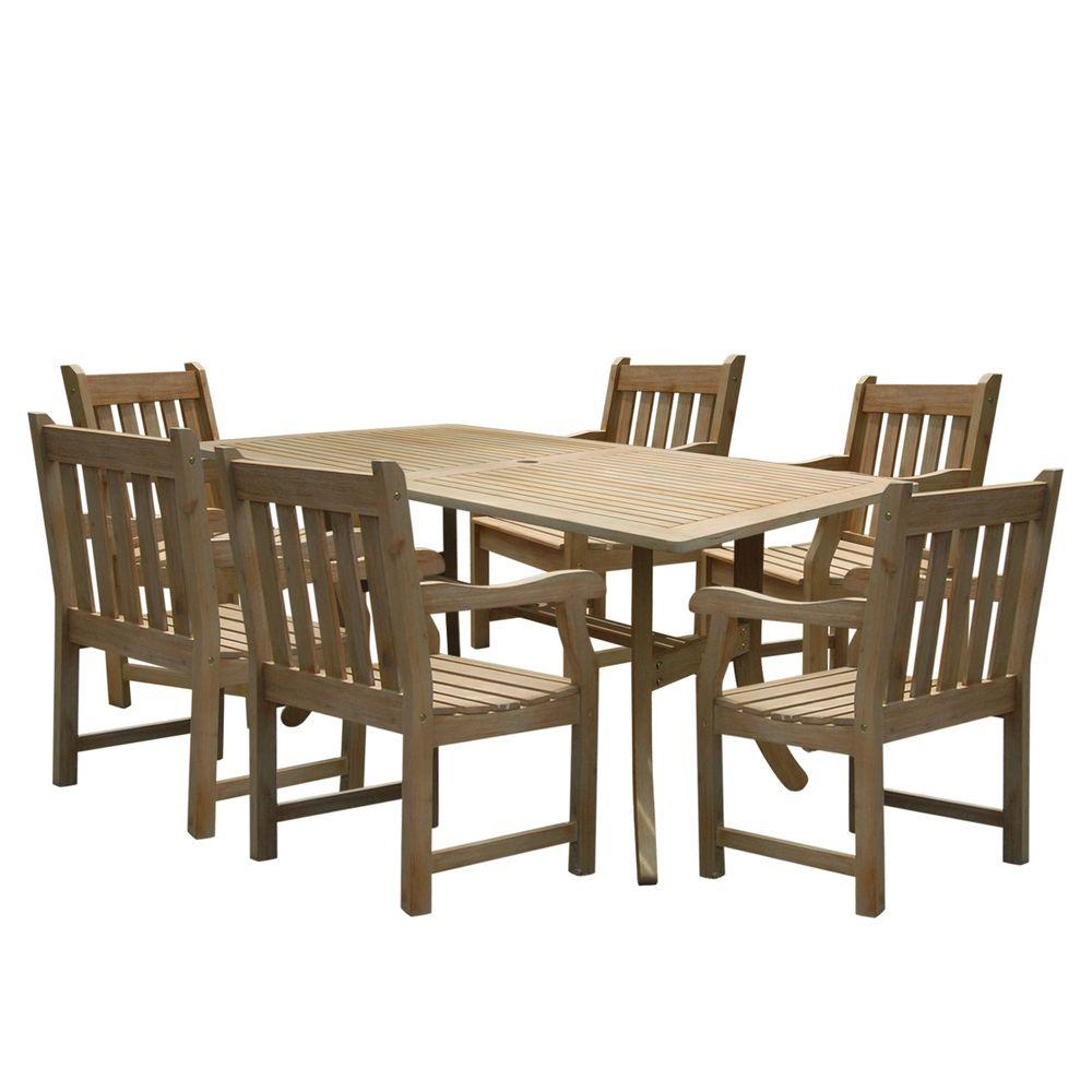Vifah Renaissance Acacia 7-Piece Patio Dining Set with 35 in. W Table and Slat-Back Armchairs-DISCONTINUED