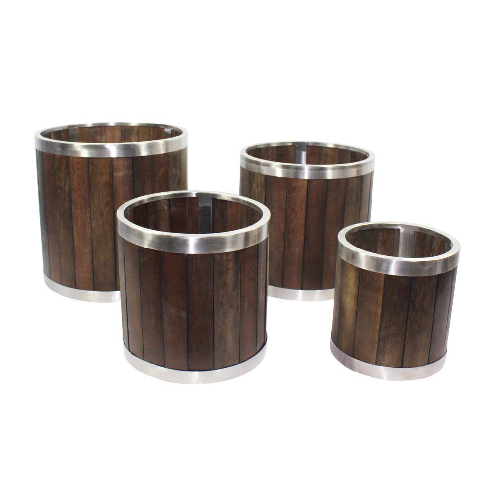 16 in. Round Dark Brown Wooden Planter Box with Stainless Steel Trim