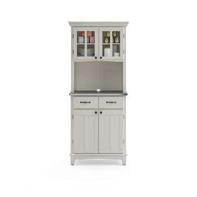 White and Stainless Steel Buffet with Hutch