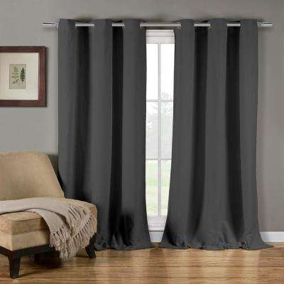 Mildred 38 in. W x 84 in. L Polyester Window Panel in Grey