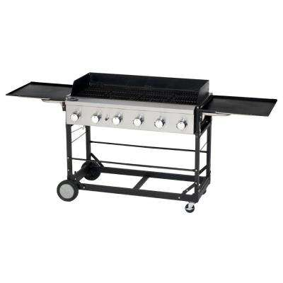 6-Burner Event Tailgating Portable Propane Gas Grill in Black