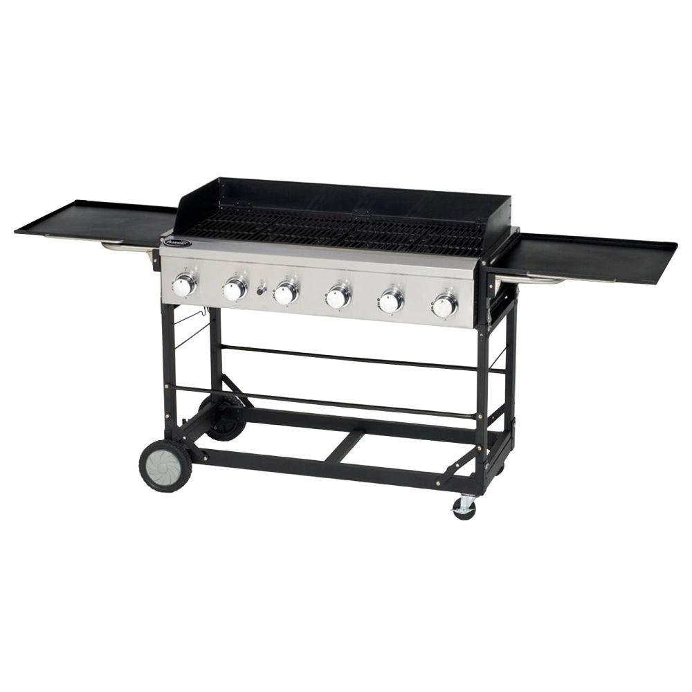 Aussie 6-Burner Event Tailgating Portable Propane Gas Grill in Black