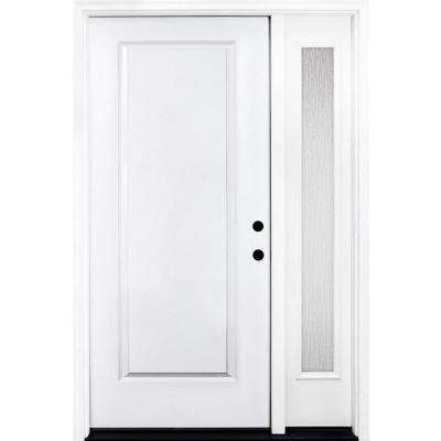 53 in. x 80 in. Classic 1-Panel LHIS Primed White Steel Prehung Front Door with Single 14 in. Rain Glass Sidelites