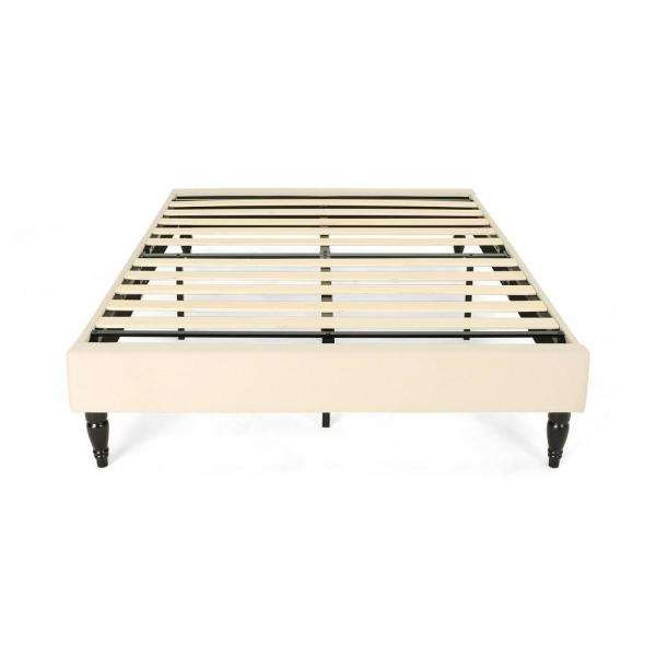 Noble House Merribee Queen-Size Beige Fabric and Wood Bed Frame 306288