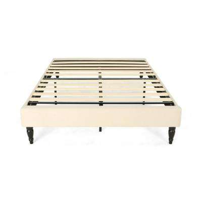 Merribee Queen-Size Beige Fabric and Wood Bed Frame