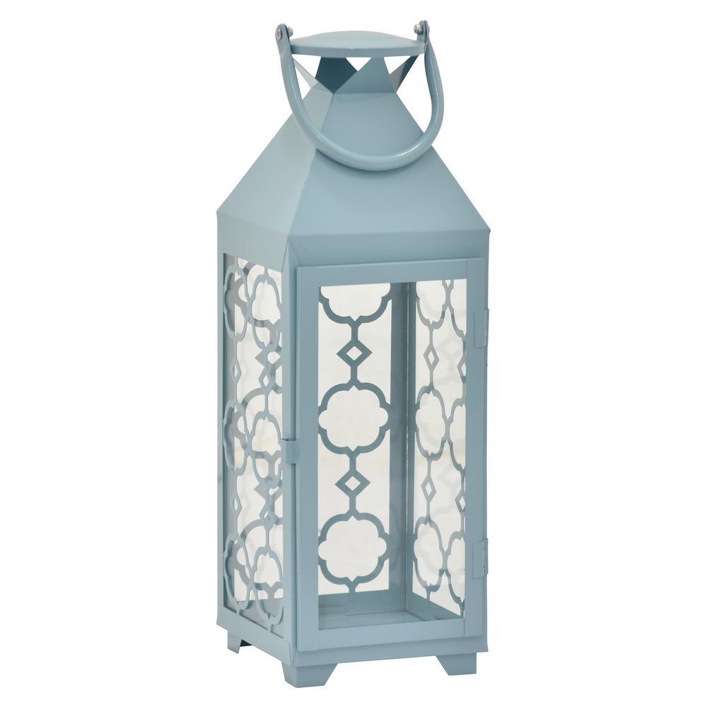 19 in. Blue Metal Decorative Lantern