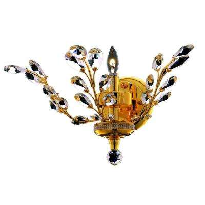 1-Light Gold Wall Sconce with Clear Crystal