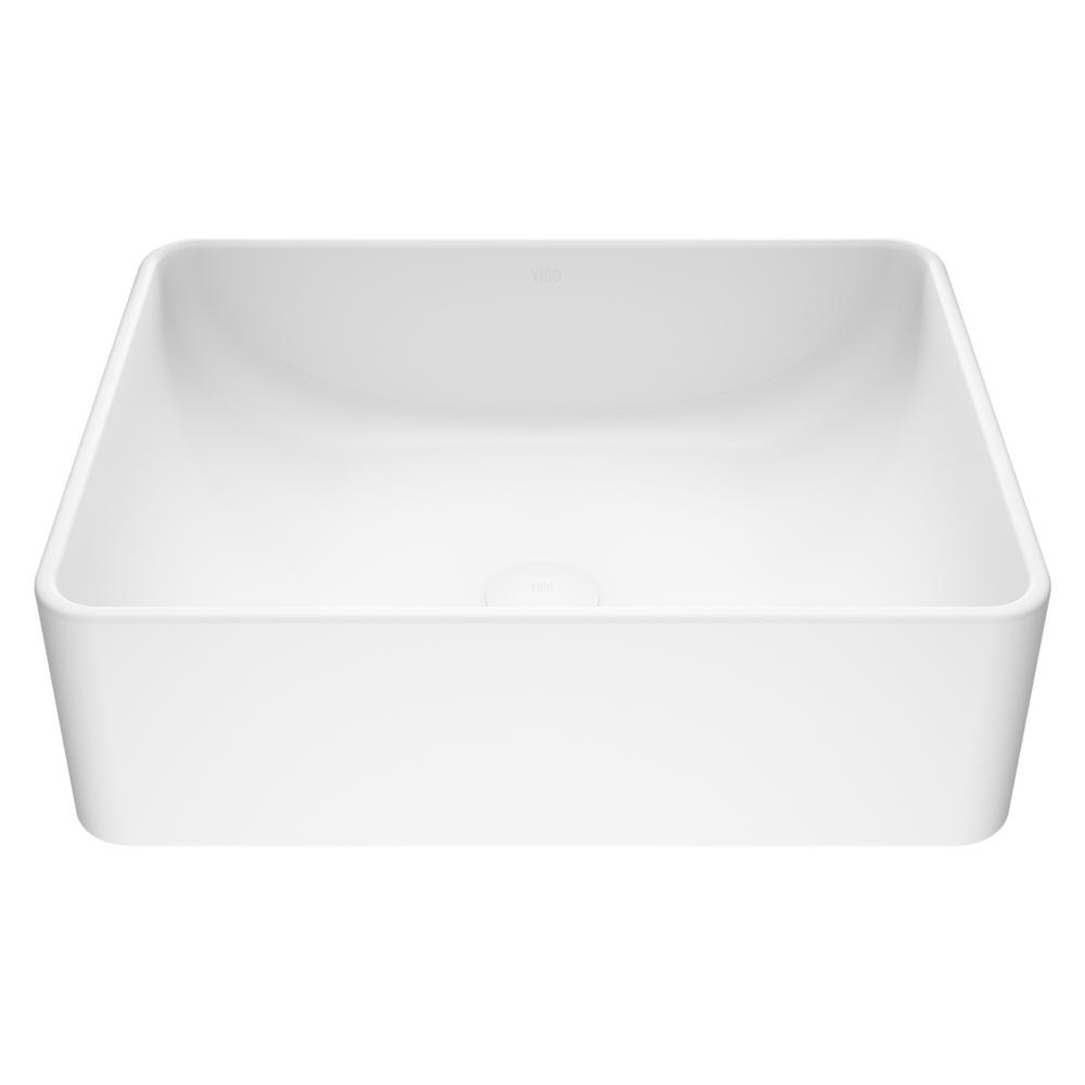 Amaryllis Handmade Matte Stone Rectangle Vessel Bathroom Sink in Matte White