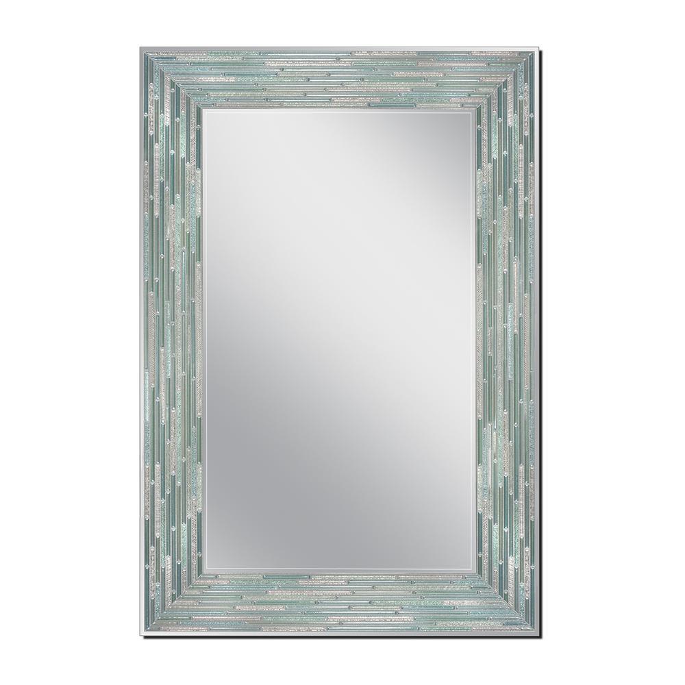 Reed Sea Glass 23.5 in. x 35.5 in. Single Frameless Wall Mirror