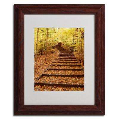 11 in. x 14 in. Fall Stairway Dark Wooden Framed Matted Art