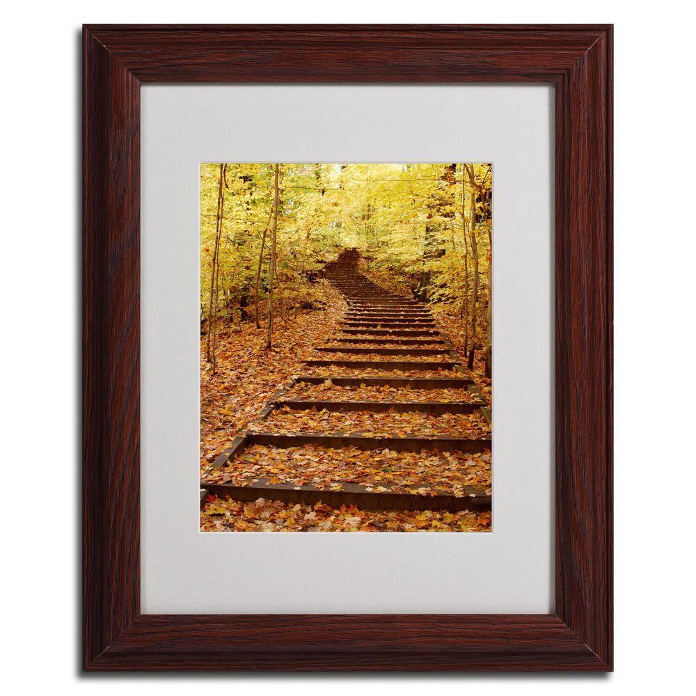 null 11 in. x 14 in. Fall Stairway Dark Wooden Framed Matted Art